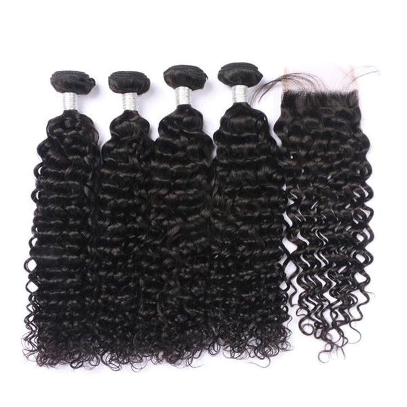4 Bundles Deep Curly Hair Weave With Pre-Plucked Natural Hairline Lace Closure