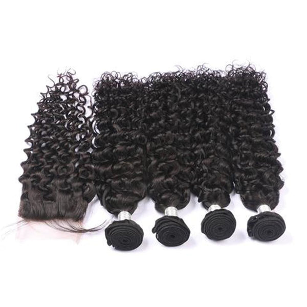 4 Bundles Deep Curly Hair Weave With Pre-Plucked Natural Hairline Lace Frontal