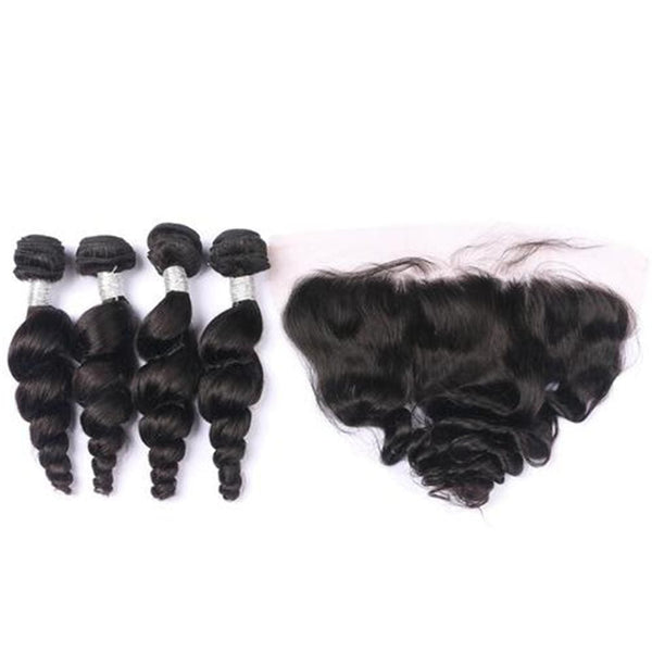 4 Bundles Loose wave Hair Weave With Pre-Plucked Natural Hairline Lace Frontal