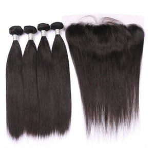 4 Bundles Straight Hair Weave With Pre-Plucked Natural Hairline Lace Frontal