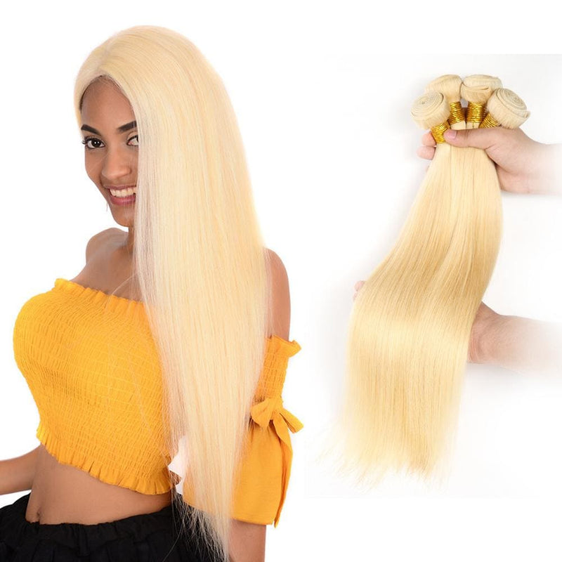 4 Pcs/pack #613 Blonde Brazilian Hair Weave Silky Straight