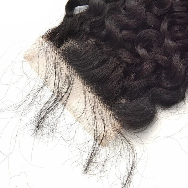4*4 Closure and 3 Bundles Curly Swiss Lace Virgin Human Hair