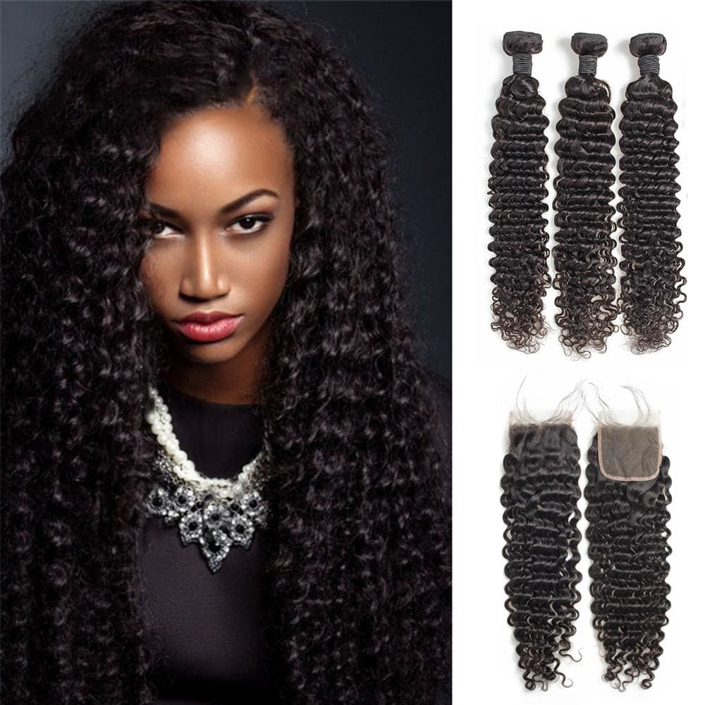 4*4 Closure and 3 Bundles Deep Curly Swiss Lace Virgin Human Hair