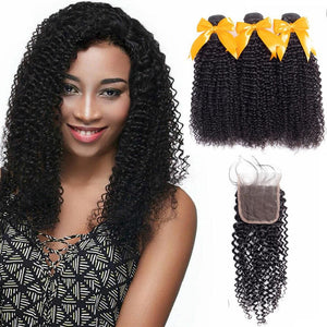 4*4 Closure and 3 Bundles Kinky Curly Swiss Lace Virgin Human Hair