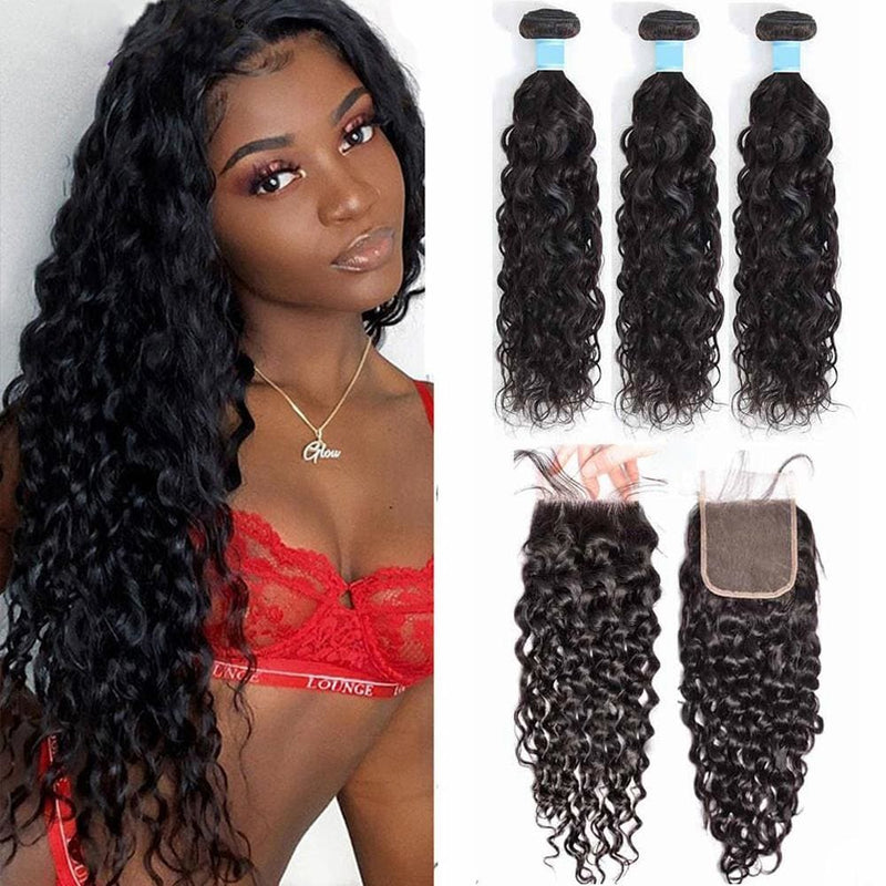 4*4 Closure and 3 Bundles Natural Wave Swiss Lace Virgin Human Hair