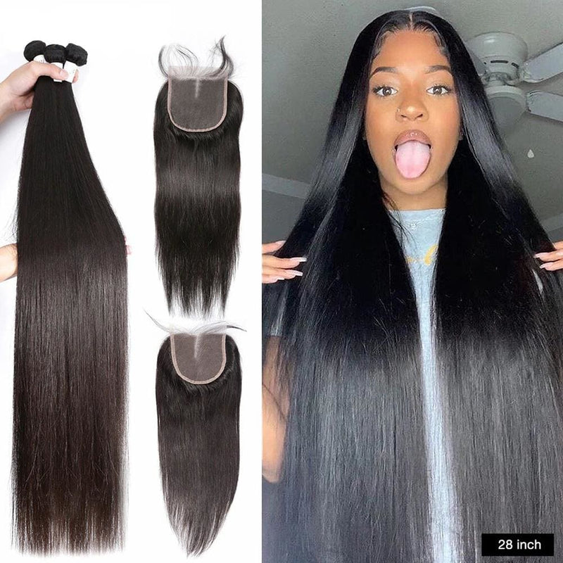 4*4 Closure and 3 Bundles Silky Straight Swiss Lace Virgin Human Hair