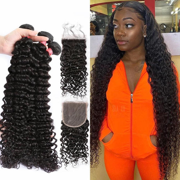 4*4 Closure and 3 Bundles Water Wave Swiss Lace Virgin Human Hair
