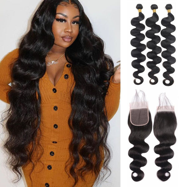 4×4 Closure with 3 Bundles Body Wave Swiss Lace Virgin Human Hair