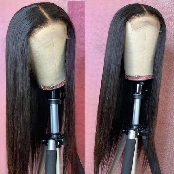 5x5 Closure Wigs Silky Straight Skin Melt Swiss Lace Wig