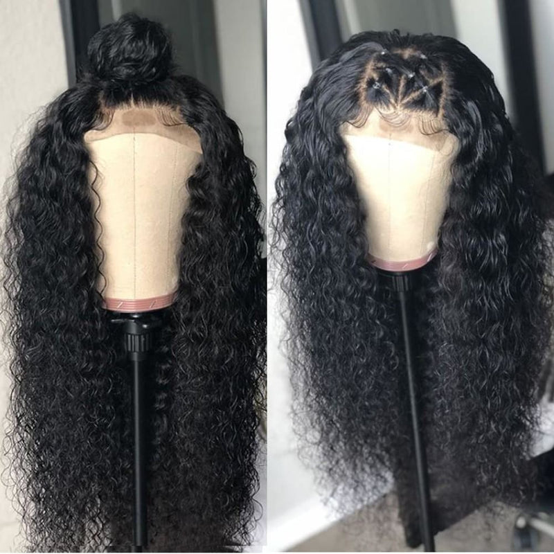 5x5 Closure Wigs Water Wave Skin Melt Swiss Lace Wig