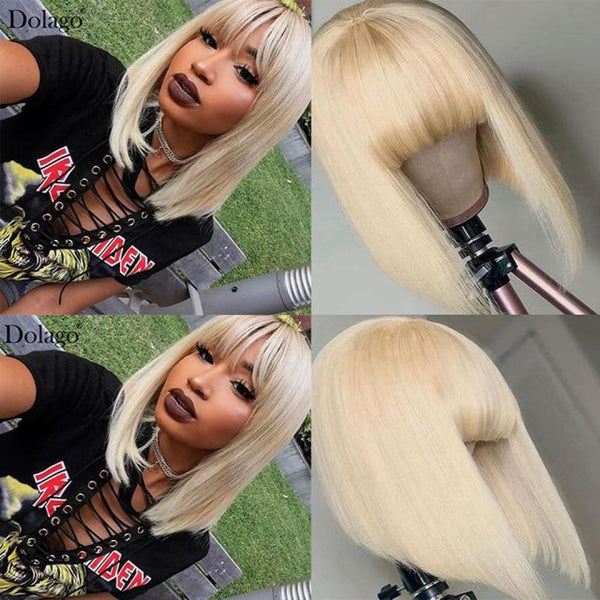 Alan| Preplucked 613 Blonde Human Hair BOB Lace Wig With Bang| Silky Straight