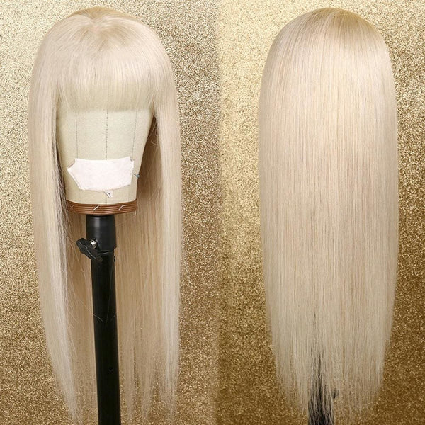 ANGUS | Preplucked Blonde Human Hair Lace Wig With Bang | Silky Straight