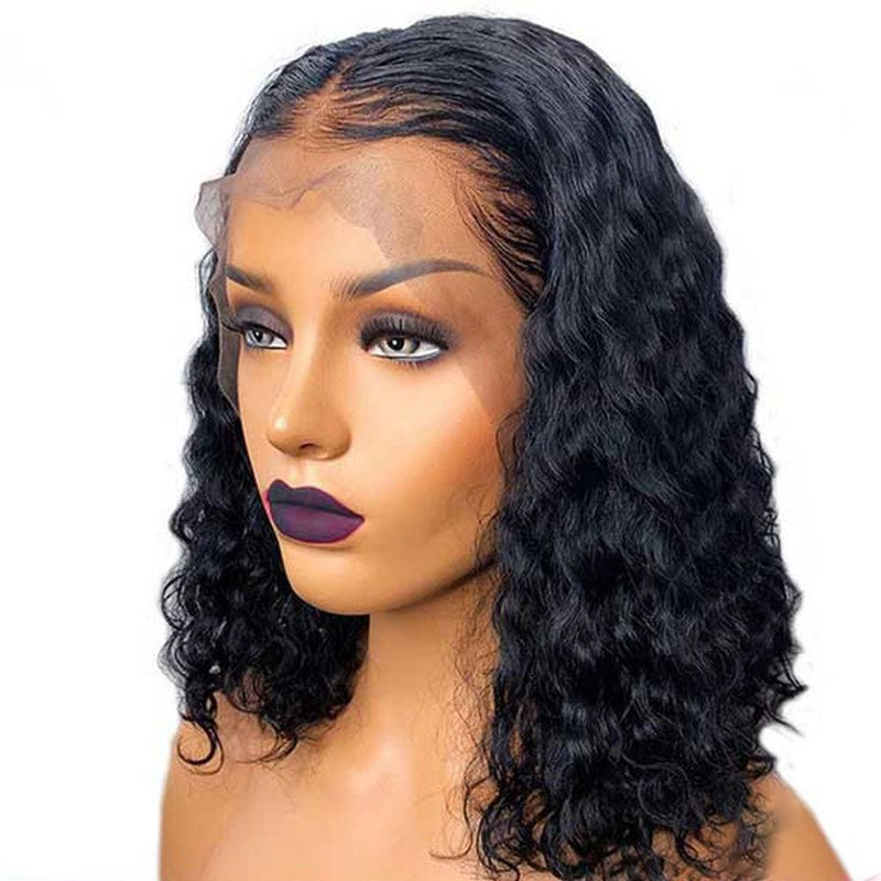 Ashley | Diamond Fake Scalp 13X6 Human Hair Lace Front Bob Wig Water Wave
