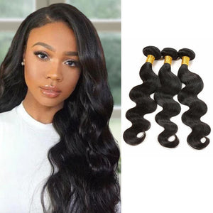 Body Wave Brazilian Virgin Hair Weave Bundles With 4x4 Closure