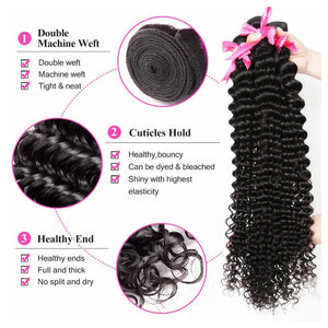Deep Curly Brazilian Virgin Hair Weave Bundles With 4x4 Closure