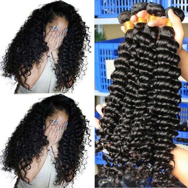 Deep Wave Brazilian Virgin Hair Weave Bundles With 4x4 Closure