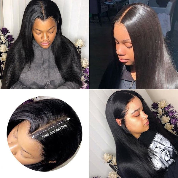 Eileen | 13X6 Deep Parting Lace Front Preplucked Virgin Human Hair Lace Wig | Silky Straight