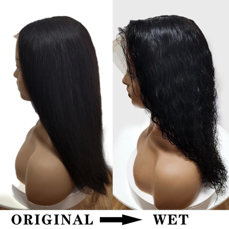 Halle | Preplucked Virgin Human Hair Lace Front Wig | Straight-Wavy Bi-Texture