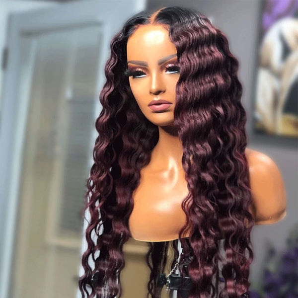 Imani | Burgundy Pre-Plucked 13X6 Human Hair Lace Front Wig Loose Wave
