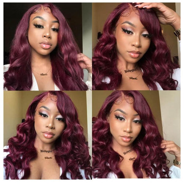 Jasmine Wine Red Pre-Plucked 13X6 Human Hair Lace Front Wig