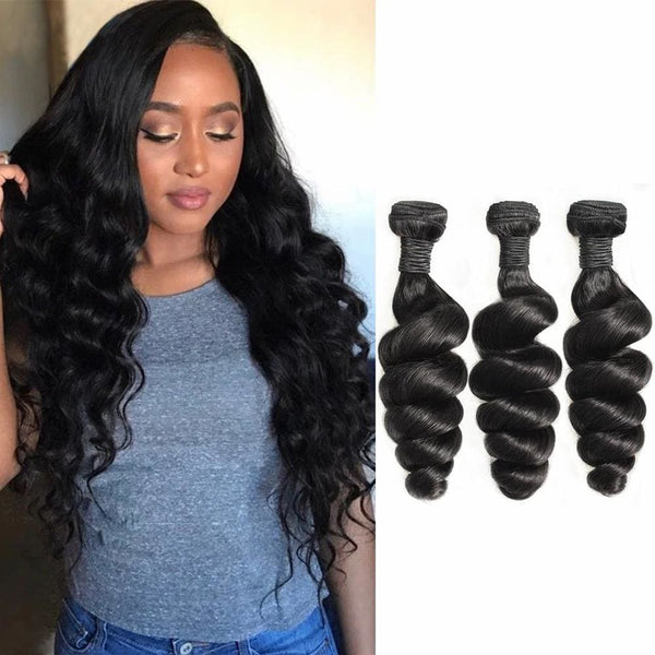 Loose Wave Brazilian Virgin Hair Weave Bundles With 4x4 Closure