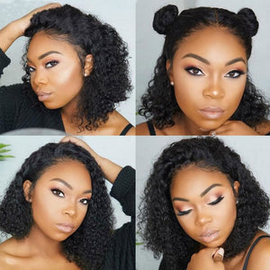Mona| Preplucked Virgin Human Hair BOB Lace Wig| Deep Curly