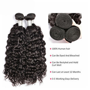Natural Wave Brazilian Virgin Hair Weave Bundles With 4x4 Closure