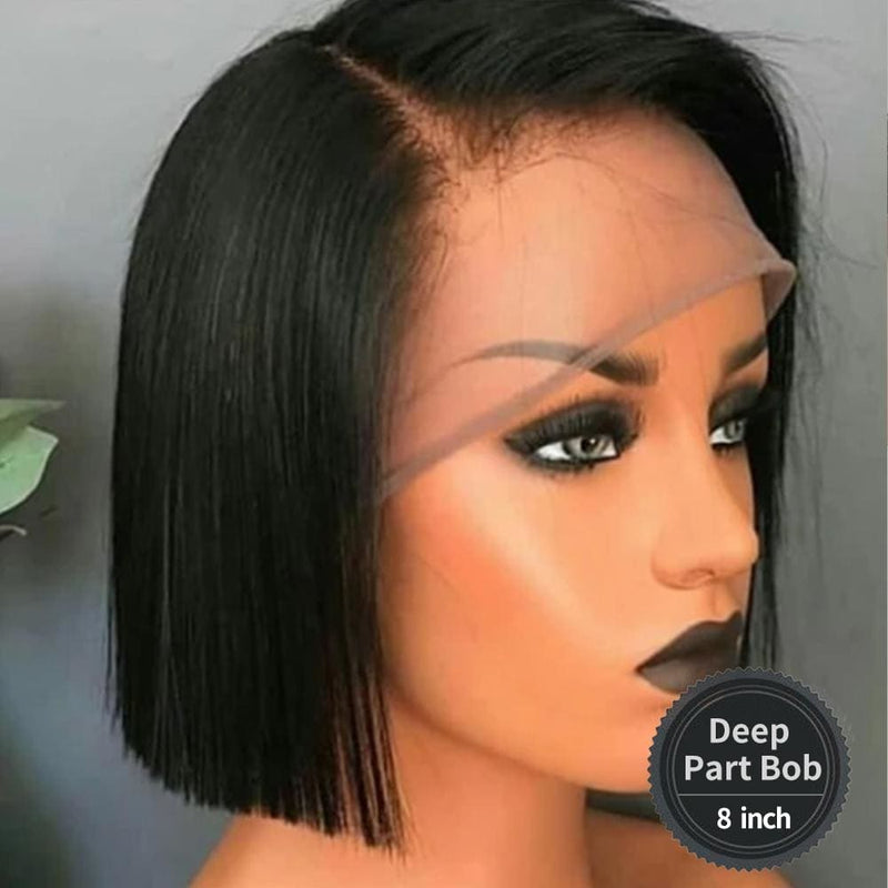 NEW Launch 13*6 Skin Melt Wig Invisible Swiss Lace+ Invisible Knots - Deep Part Bob 8 inch / Small 21.5 inch+3 Days / 130%