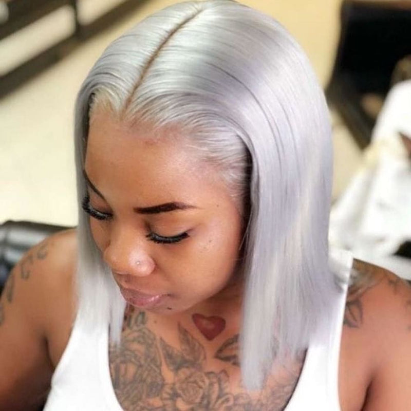Petty| Preplucked Silver Gray Grey Human Hair BOB Lace Wig | Silky Straight