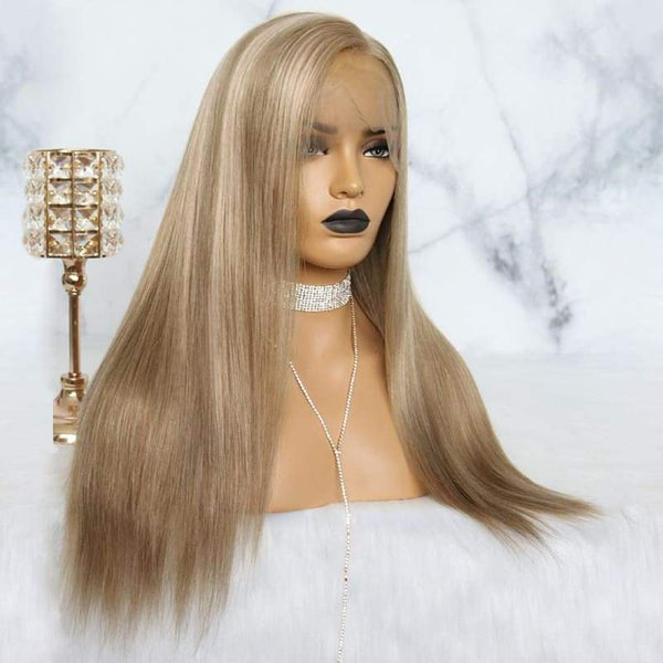Samantha | 13X6 Preplucked Ash Blonde Human Hair Lace Wig | Silky Straight