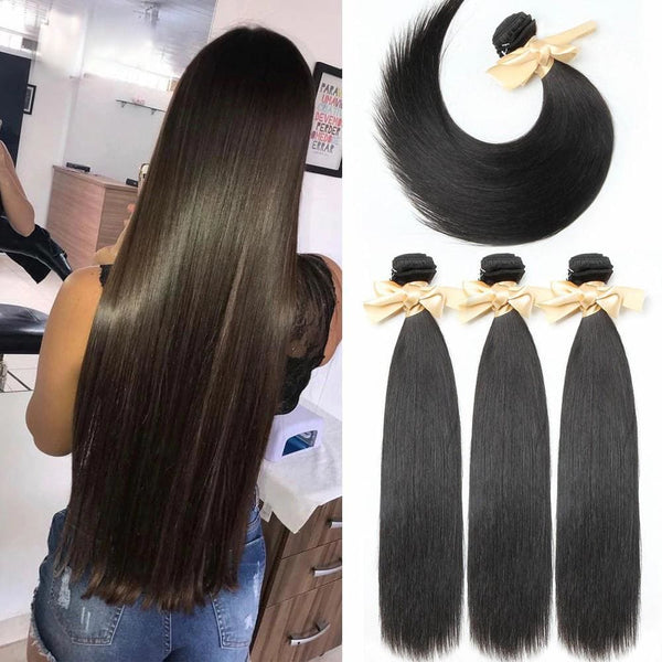 Silky Straight Brazilian Virgin Hair Weave Bundles With 4x4 Closure