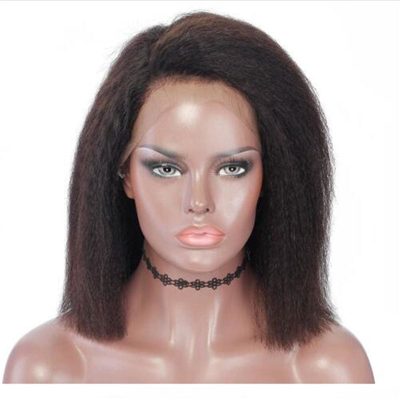 Vera| Preplucked Virgin Human Hair Short Lace Wig | Kinky Straight