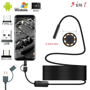 1m 2M 1.5m Wire Mini Endoscope Camera 5.5mm Lens for Android Type-C/USB Borescopes Waterproof Led