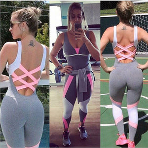 Fashion Yoga Set Women Gym Sporting Playsuit Clothing Exercise Top Jumpsuit Running Sportswear
