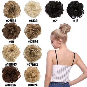 S-noilite 35g Chignon with Elastic Rubber Bands Synthetic Chignon Donut Buns Hairpiece hair Bun