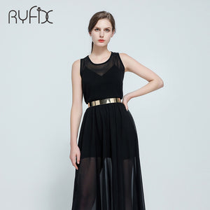 Women Punk Full Metal Mirror skinny Waist Belt Metallic Gold Plate 3cm Wide Chains Lady ceinture sashes for dresses