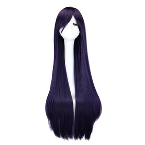 QQXCAIW Long Straight Cosplay Wig Black Purple Black Red Pink Blue Dark Brown 100 Cm Synthetic