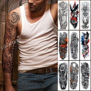 Large Arm Sleeve Tattoo Maori Power Totem Waterproof Temporary Tatto Sticker Warrior Samurai Angel