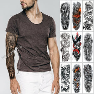 Large Arm Sleeve Tattoo Sketch Lion Tiger Waterproof Temporary Tatoo Sticker Wild Fierce Animal