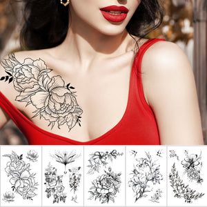 Waterproof Temporary Tattoo Sticker Sketch line peony pattern tatto Water Transfer Rose body art