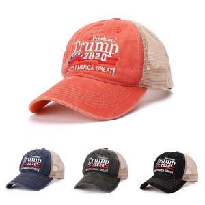 Baseball Cap Washed Embroidered Mesh Hat Headwear Unisex Casual Streewear Donald Trump 2020 US
