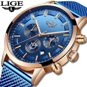 Relogio Masculino LIGE Luxury Quartz Watch for Men Blue Dial Watches Sports Watches Moon Phase