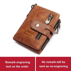100% Genuine Leather Men Wallet Coin Purse Small Mini Card Holder Chain PORTFOLIO Portomonee Male