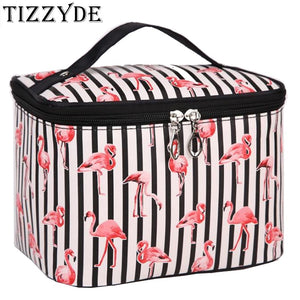 New Flamingo Cosmetic Bag Necessaire Travel Organizer Make up Box Toiletry Kit Wash Toilet Bag Large