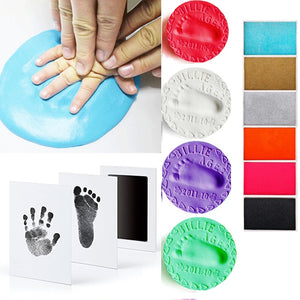 Baby footprint Non-Toxic Photo frame DIY Handprint Footprint Imprint Kit Baby Souvenirs Casting Clay