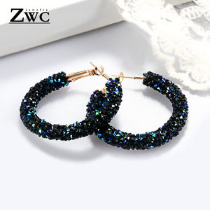 ZWC Vintage Korean Big Earrings for Women Female Fashion Gold Cubic zirconia Drop Dangle Earring