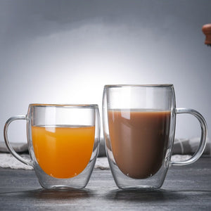 Heat Resistant Double Wall Glass Coffee/Tea Cups And Mugs  Travel Double Coffee Mugs With The Handle