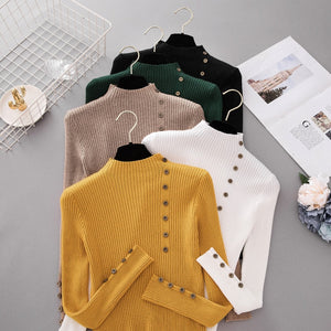 New Fashion Button Turtleneck Sweater Women Spring Autumn Solid Knitted Pullover Women Slim Soft