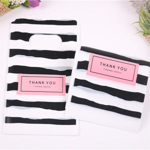 50pcs/lot New Design Black&white Striped Packaging Bags for Gift Small Plastic Jewellery Pouches