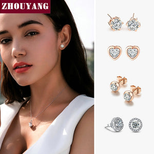 ZHOUYANG Stud Earring For Women 27 Style Classic Cubic Zirconia Wedding Rose Gold Color & Silver